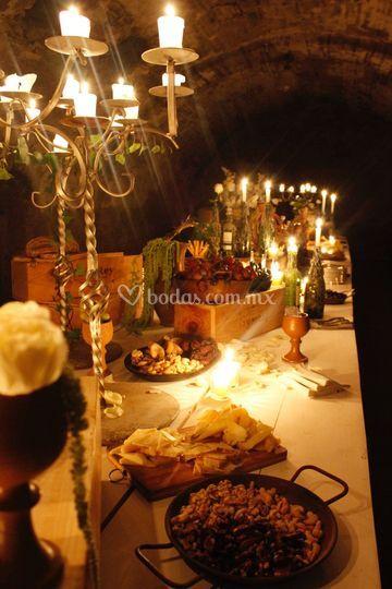 Mesa de quesos medieval