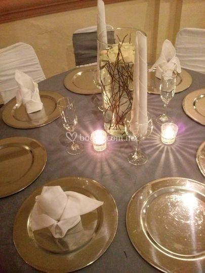 Decoración boda de plata