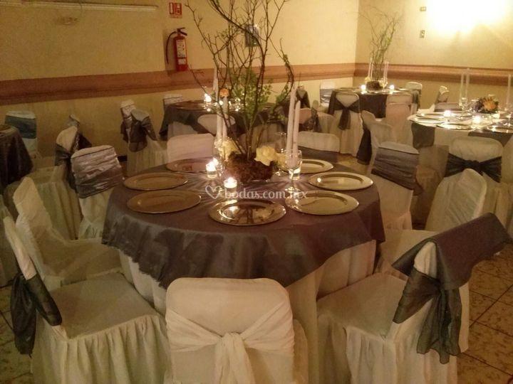 Decoración para boda de plata