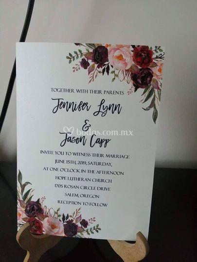 Invitación con flores