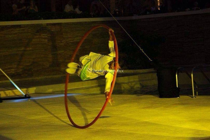 Acrobacia en cyr wheel