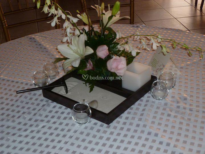 Centro de mesa jardín zen