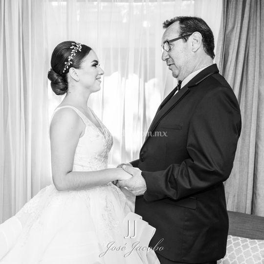 Guía y vestido de novia