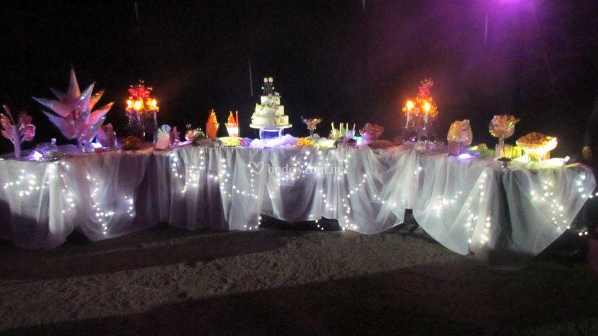 Mesa de dulces de fantasía