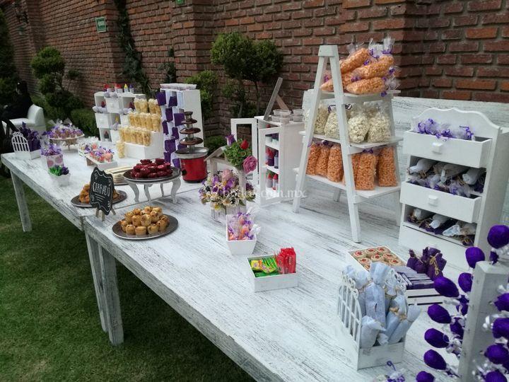 Mesa de dulces doble