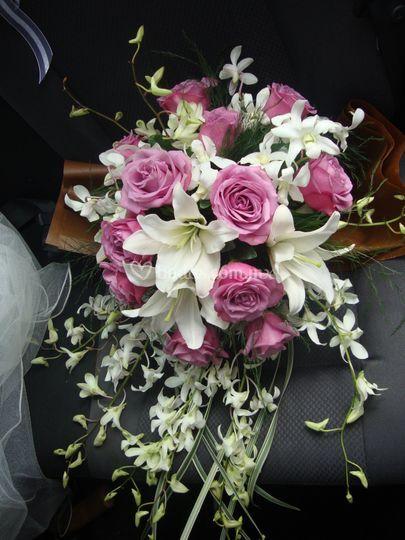 Orquídea dendrobium y rosas