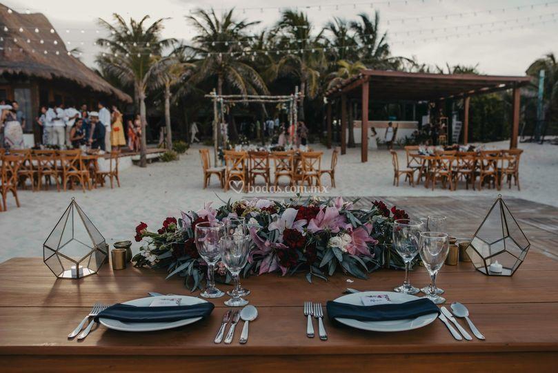 Mesa de novios en Cancún
