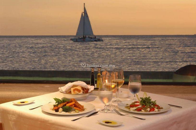 Banquete frente al mar