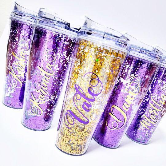 Vasos glitter personalizados