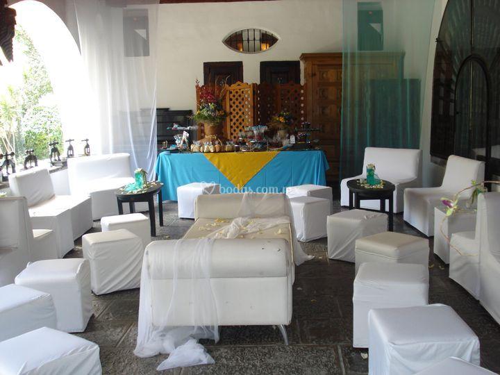 Lounge en blanco salón