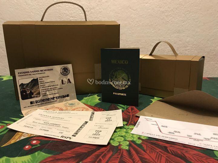 Invitación boda tipo pasaporte