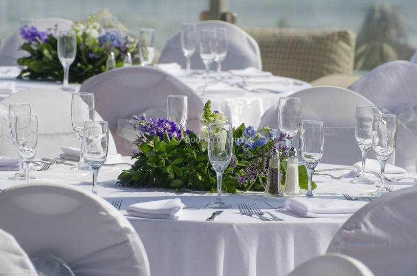 Banquete boda terraza playa