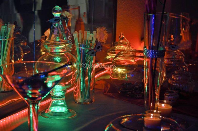 Candy bar en cristaleria y luz