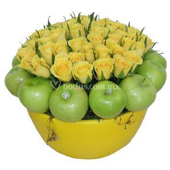 Rosas amarillas y manzanas