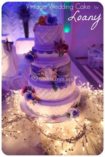 Pastel de bodas vintage loany