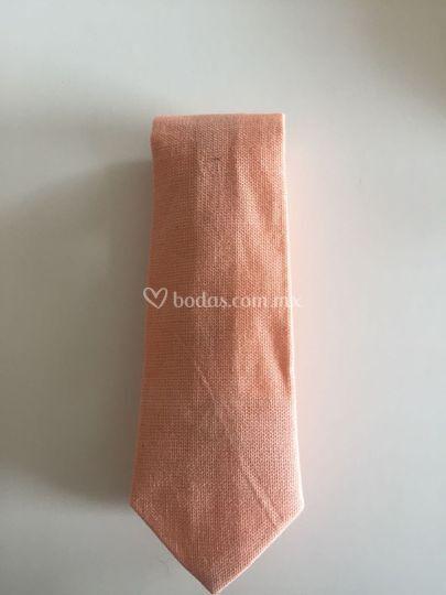 Corbata de algodón salmón
