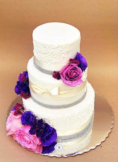 Pastel boda en tonos lila