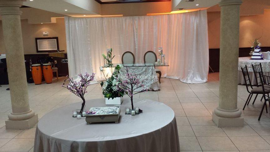 Salón decorado para boda