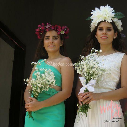 Coronitas para novia y dama