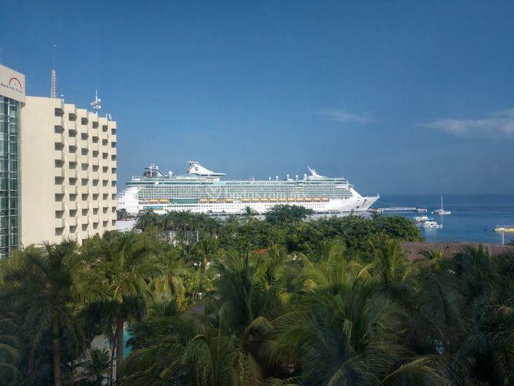 Vista de un crucero en Cozumel