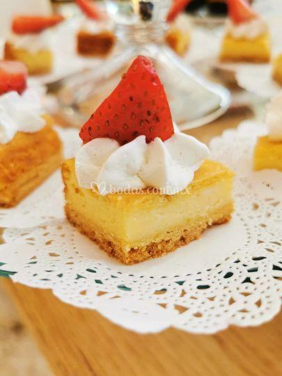 Mesa de postres: cheesecake