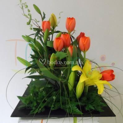 Centro de mesa en naranja