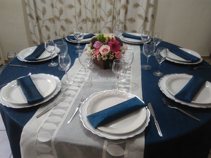 Mantel azul metálico