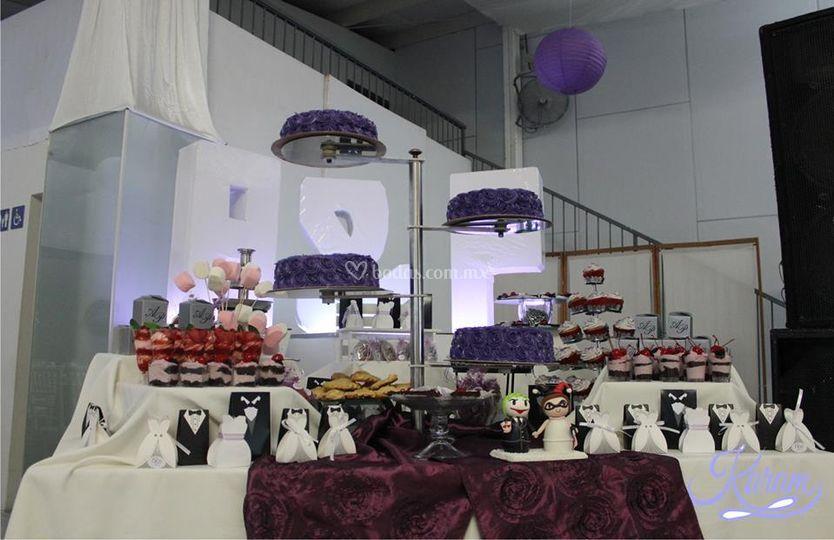 Mesas dulces y pastel
