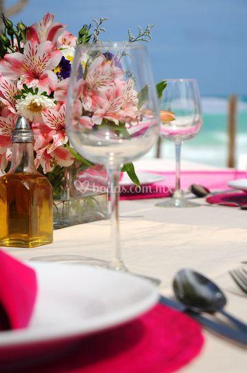 Flores boda en playa