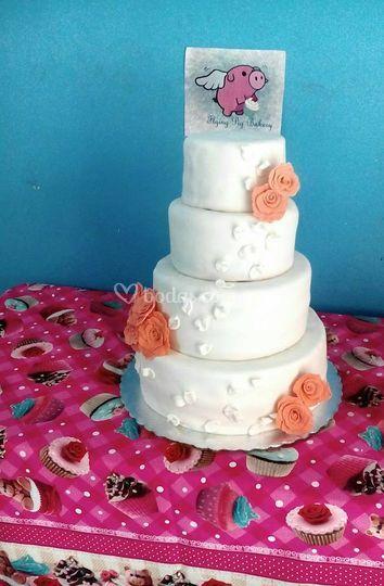 Pastel de bodas 200 porciones