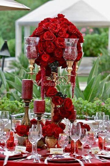 Rosas rojas en cascada