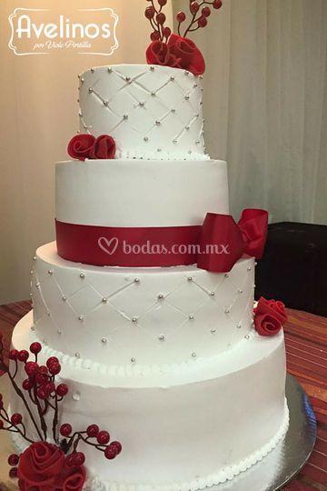 Pastel Red Betun para boda