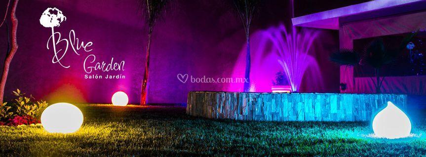 Fuente y jardín iluminado