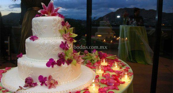 Pastel de boda e iluminación