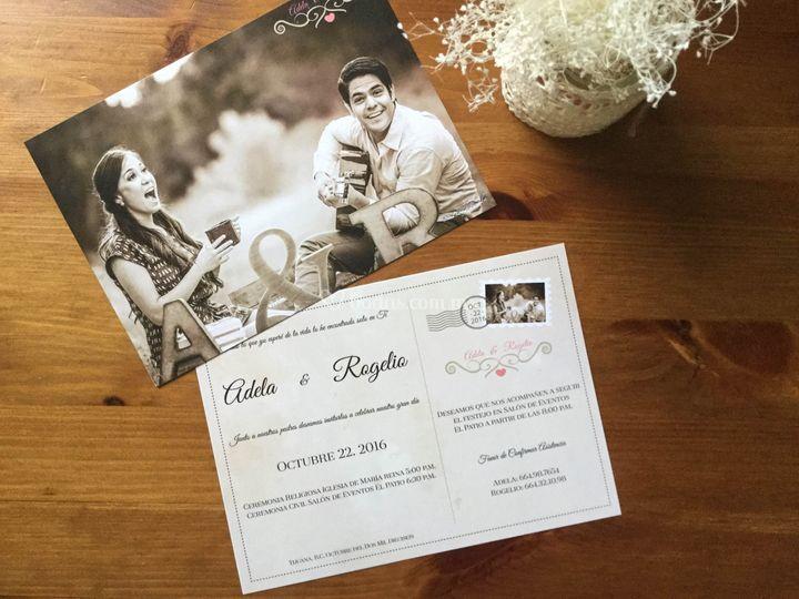 Invitación tipo tarjeta postal