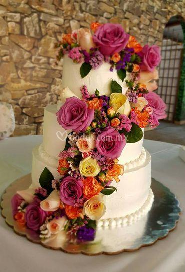 Pastel boda flores naturales