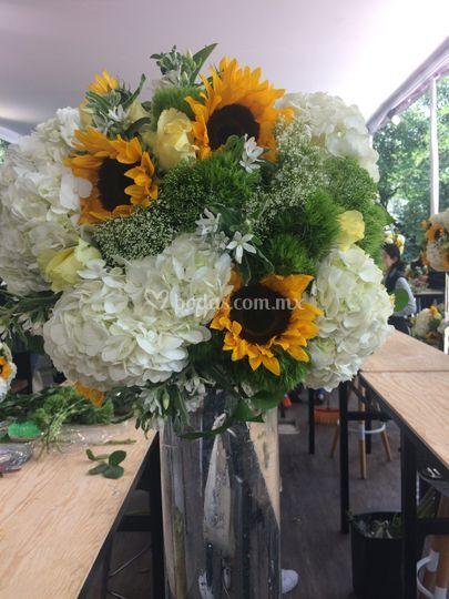 Diseño floral en alto