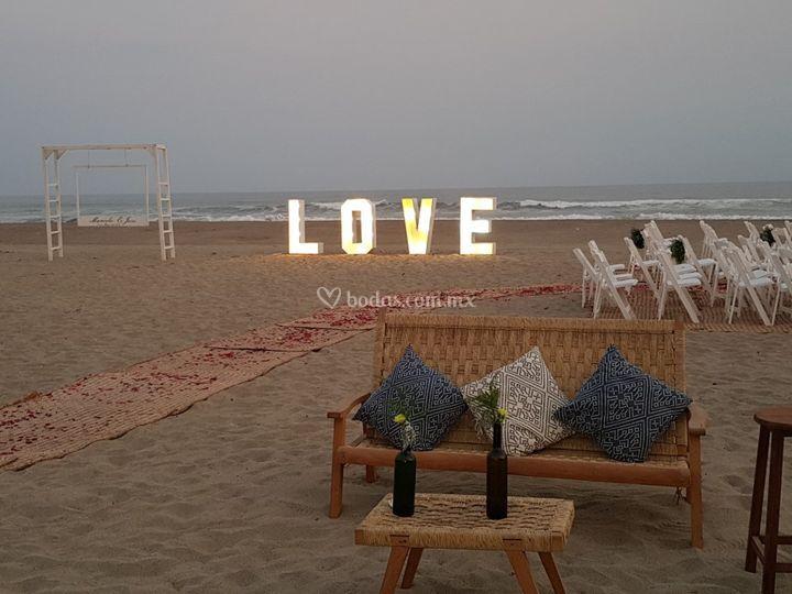 Love atardecer playa