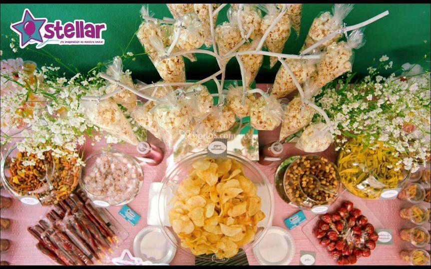 Stellar decoraci n for Mesa salada para cumple