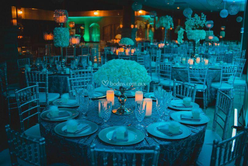 Salón en tono azul