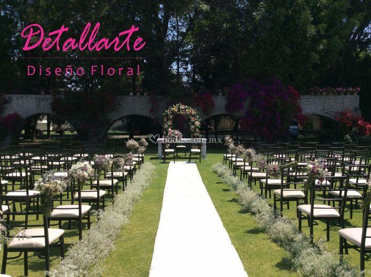 Decoración para boda en jardín