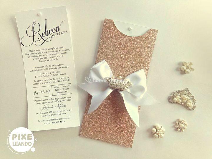 Invitacion glitter rose gold