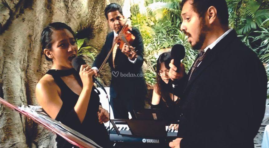 Piano, violín, soprano y tenor