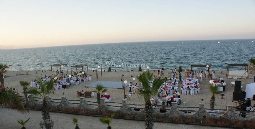 Recepcion en la playa