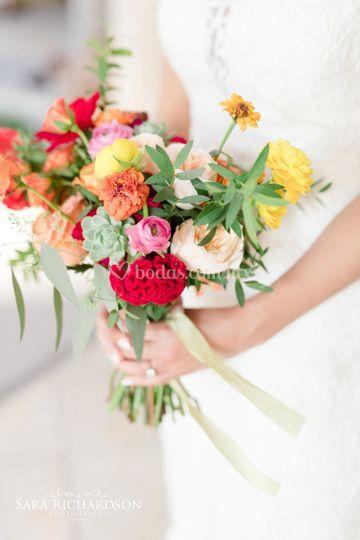 Bouquet de novia de colores