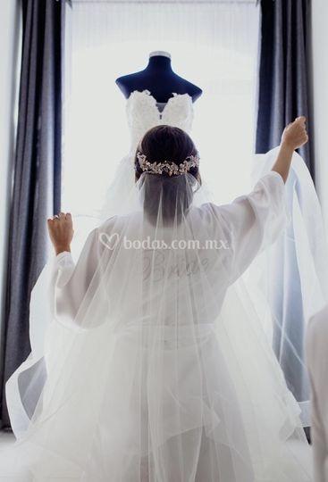 Bride con bordado plata