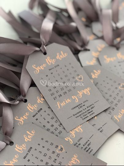 Save the date, foil rose gold
