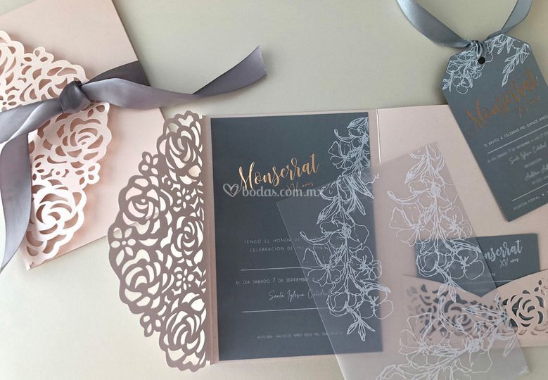Rose gold and vellum paper