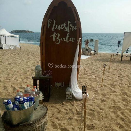 Recibidor boda playa