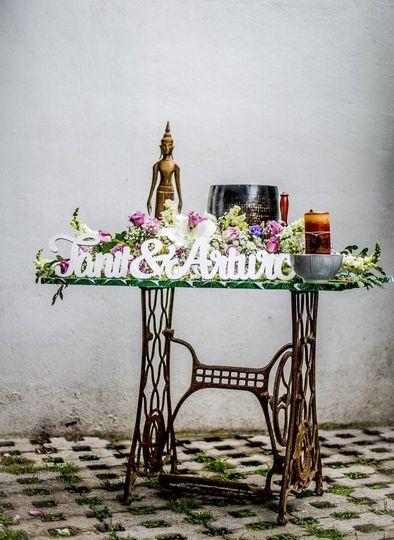 Mesa vintage para ceremonia